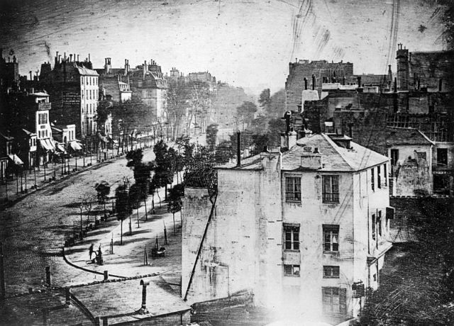 1838 First human on film. Photograph by Louis Daguerre, of a street in Paris