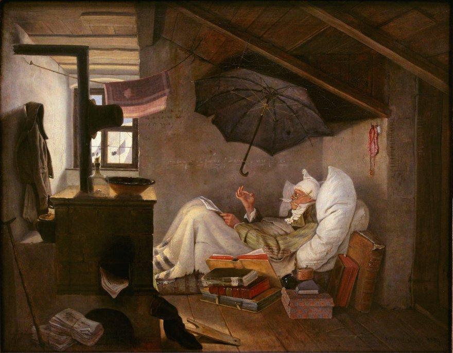 Carl Spitzweg (1808 –1885). The Poor Poet. Der Arme Poet.