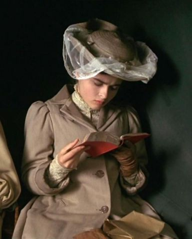 Film version of E.M. Forster's Room With A View (1908). Helena Bonham-Carter as Lucy Honeychurch.