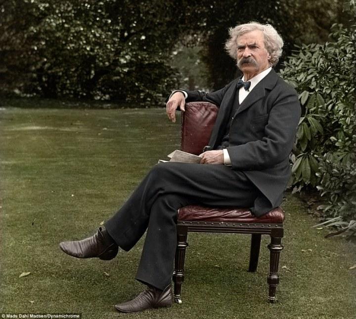 mark twain coloured image