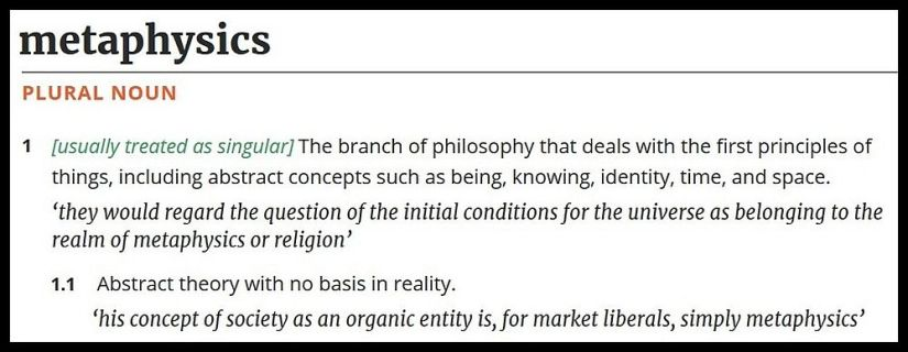 Image showing definition of the term metaphysics.