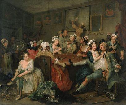 Painting by William Hogarth The Rakes Progress