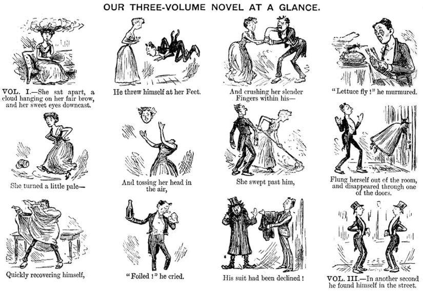 Punch magazine cartoon mocking the three volume novel
