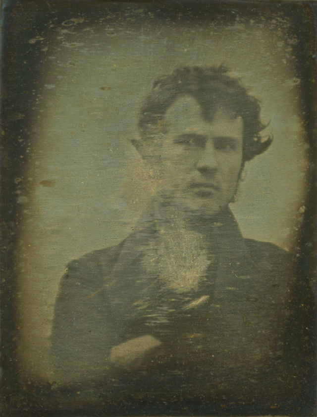 1839 Oldest self portrait Robert Cornelius. Daguerreotype