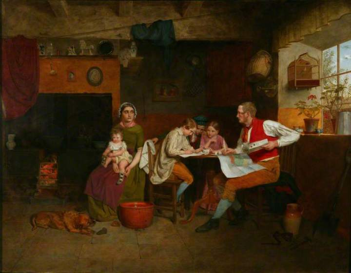 Answering the Emigrant's Letter (1850) - By James Collinson. Oil on panel. 70 x 89cm. Manchester City Art Gallery.