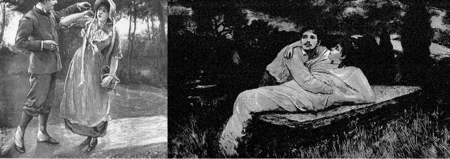 Illustrations from early additions of Tess of the d'Urbervilles. Alec and Tess plus Angel and Tess