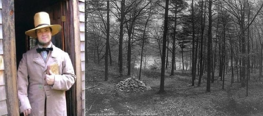 Actor portraying Henry David Thoreau & the site of Thoreau's cabin marked by a cairn in 1908.