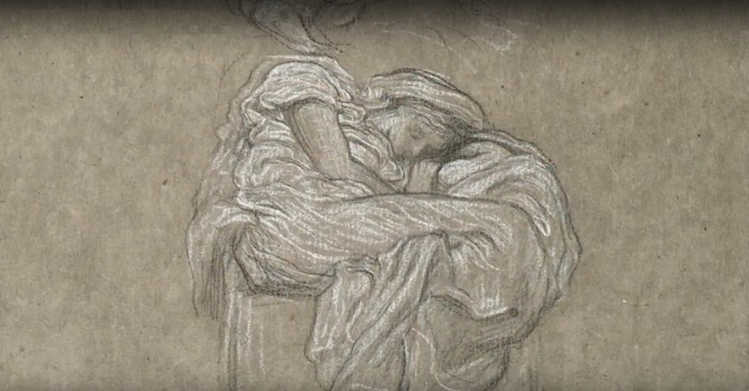 An early sketch exists of the painting Flaming June by Frederic Leighton.