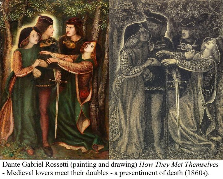 Painting and drawing by Dante Gabriel Rossetti, How They Met Themselves