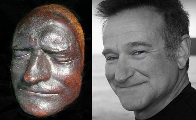 Robin Williams / Isaac Newton (from Sir Isaac's death-mask)