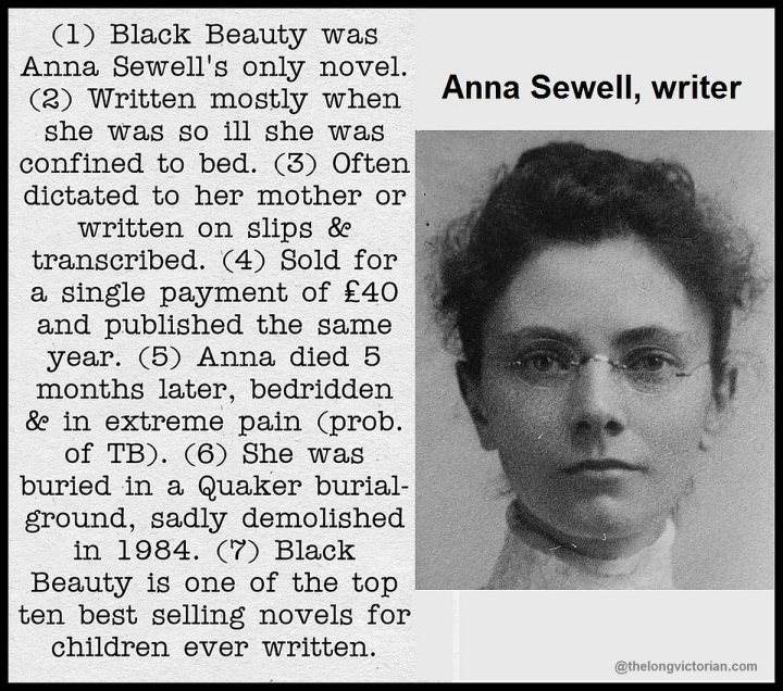 Image and biog of Anna Sewell 1820-78, English novelist, author of Black Beauty.
