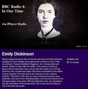 Image and details on BBC Radio programme on Emily Dickinson
