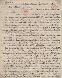 Letter written by Sarah Hale on Thanksgiving