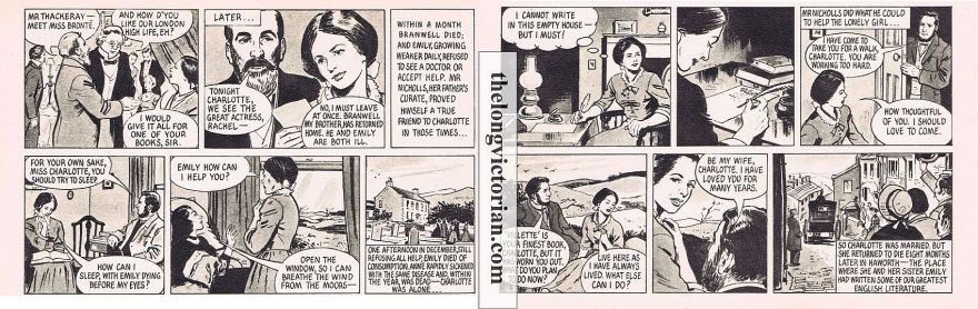Background 1950s graphic story of the Bronte family