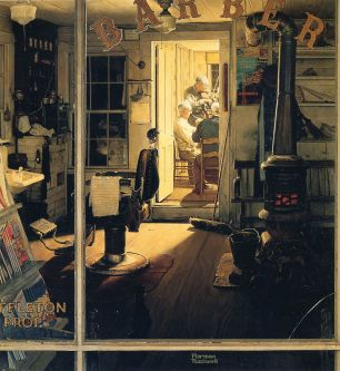 Norman Rockwell painting Shuffleton's Barbershop (1950).