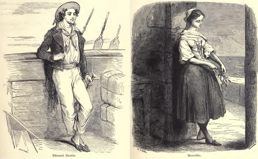 Illustration of Edmund Dantes and Mercedes from The Count of Monte Cristo
