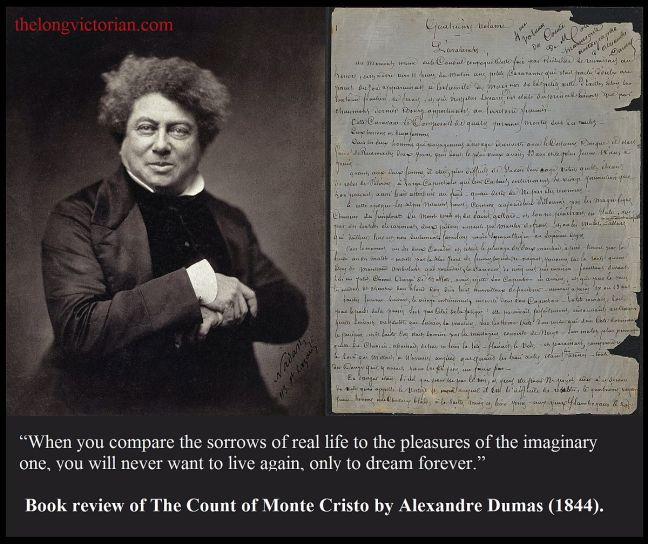 Promotion image B for a book review of The Count of Monte Cristo by Alexandre Dumas (1844).